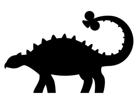 Euoplocephalus silhouette isolated on white background. Vector illustration.