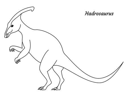 Coloring page outline Hadrosaurus dinosaur. Vector illustration isolated on white background