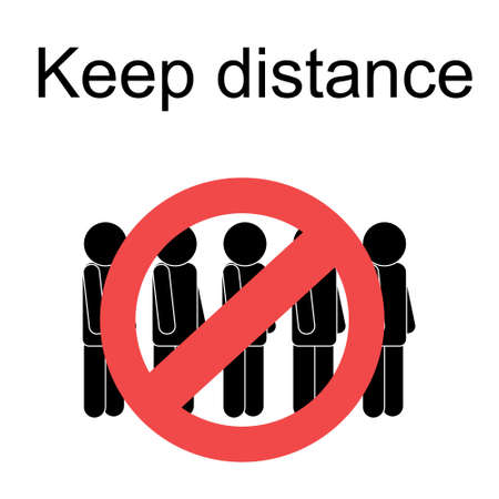 Keep distance from crowds. Social distancing sign, coronavirus covid-19 outbreak prevention. Vector illustration