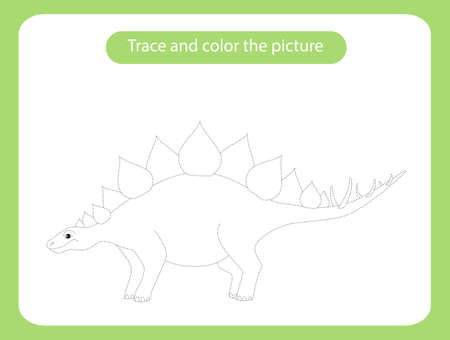 Stegosaurus dinosaur. Trace and color the picture children s educational game. Handwriting and drawing practice. Dino theme activity for toddlers, kids. Vector illustration. Vectores