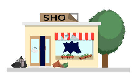 Looted store with broken windows, a damaged sign and an open door. Vector illustration of social unrest and looting
