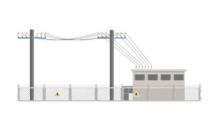 Power lines and transformer substation building fenced. Flat vector illustration isolated on white background.