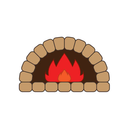 Stone brick, pizza firewood oven with fire isolated on white background. Art design home bakery. Abstract concept graphic pizzeria restaurant, bread shop element