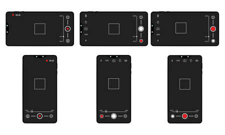 Camera screen phone mobile interface app. Smartphone photo viewfinder ui vector template design 일러스트