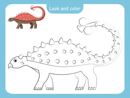 Look and color. Coloring page outline of dinosaur with colored example. Vector illustration, coloring book for kids preschool activities. Stock Illustratie