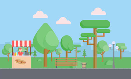 Citypark with green trees, bushes, bench, walkway, lantern, clouds and fast food tray. Town and city park landscape nature. Flat vector illustration Illustration