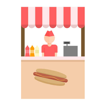 Cart with hot dogs and seller, street fast food , mobile shop Vector flat Illustration isolated on white background