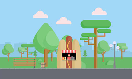 Citypark with green trees, bushes, bench, walkway, lantern, clouds and fast food tray. Town and city park landscape nature. Flat vector illustration Ilustrace