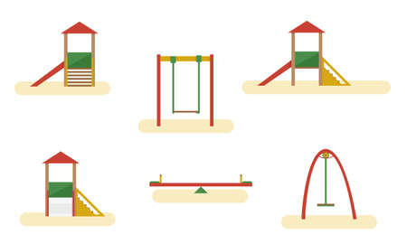 Kids playground elements with slide, and swing. Vector flat equipment for kids open air games isolated on white background