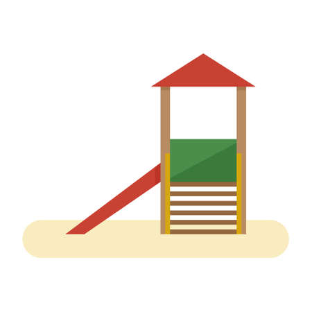 Kids playground with slide and stairs. Vector flat equipment for kids open air games isolated on white background Illustration
