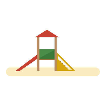 Kids playground with slide and stairs. Vector flat equipment for kids open air games isolated on white background Иллюстрация