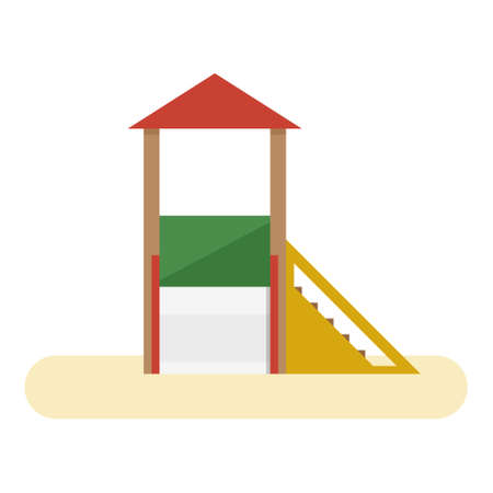 Kids playground with slide and stairs. Vector flat equipment for kids open air games isolated on white background Фото со стока - 147260181