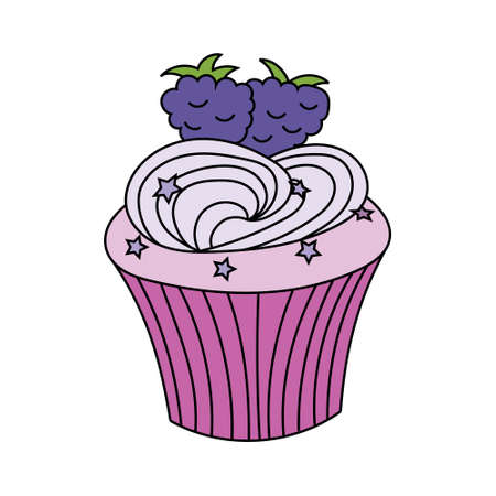 Hand drawn cupcake with cream, stars and blackberry on the top. Vector illustration isolated on white background 일러스트