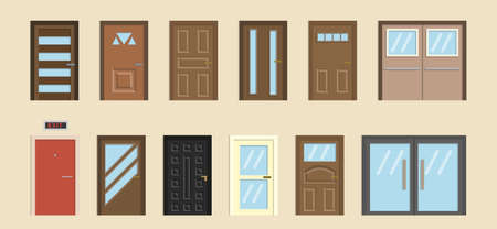 Front doors to houses and buildings set in flat design style, vector illustration 일러스트
