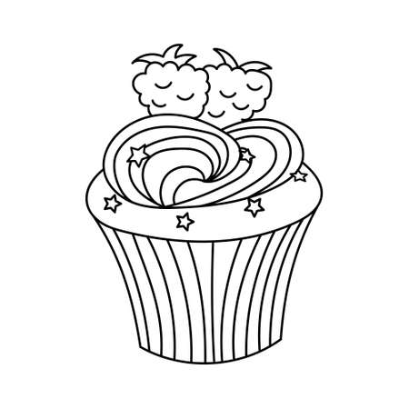 Hand drawn cupcake with cream, stars and blackberry on the top. Vector outline illustration isolated on white background