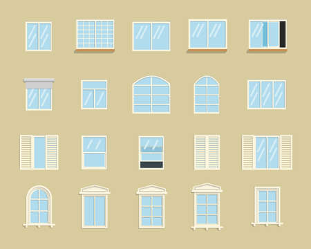 Vector flat style collection of various windows types. For interior and exterior use.