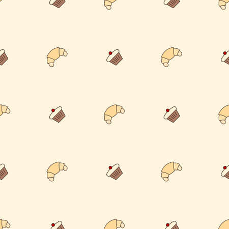 Seamless pattern with cupcake and croissant icons. Food background vector illustration 일러스트