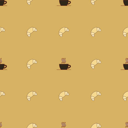 Seamless vector pattern with simple croissant cup of tea or coffee icon. Food pattern illustration for poster, banner, fabric.
