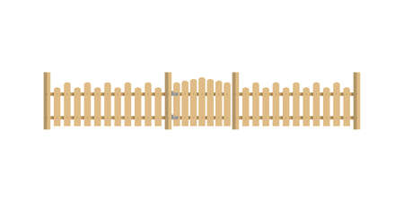 Wooden fence with gate. Garden fence isolated on white background. Vector illustration in flat style.