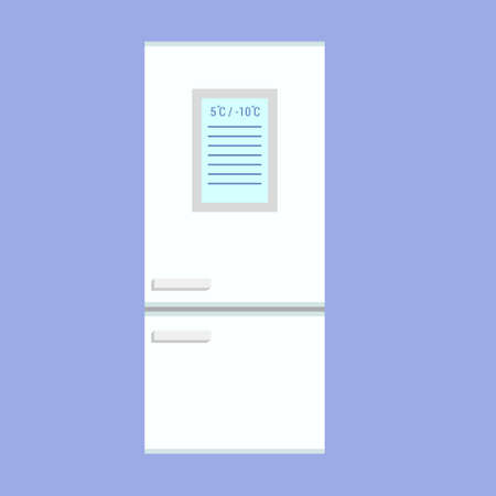 Smart rfridge with lcd display vector illustration in flat style isolated on white background