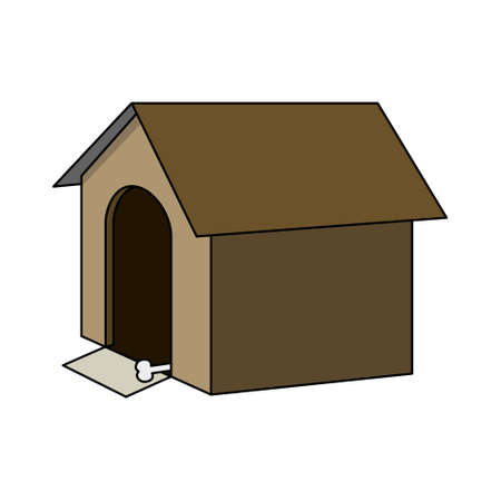 Brown doghouse with a bone and a mat. Vector illustration isolated on white background. Illustration