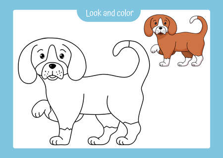 Look and color. Coloring page outline of a dog with colored example. Vector illustration, coloring book for kids preschool activities.
