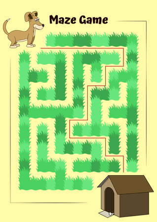 Educational game for children. Help the little dog run to its kennel - Maze puzzle with solution
