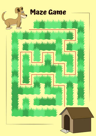 Dog and doghouse Maze.Educational game for children. Help the dog run to its kennel - Maze puzzle with solution 矢量图像