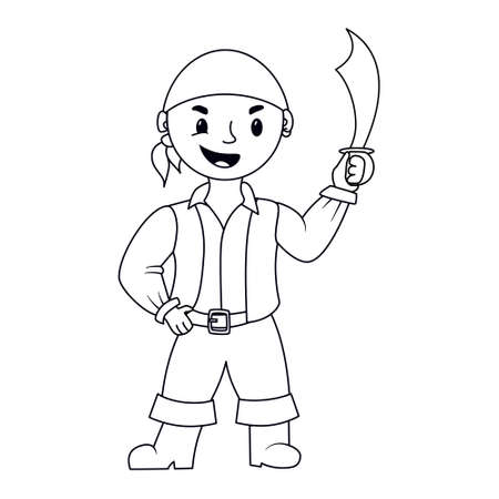 Coloring page outline with smiling little Pirate kid holding a saber. Vector illustration isolated on white background Vectores