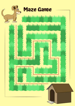 Dog and doghouse Maze.Educational game for children. Help the dog run to its kennel - Maze puzzle with solution Illustration