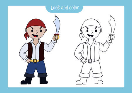 Look and color. Coloring page outline of pirate with colored example. Vector illustration, coloring book for kids preschool activities.
