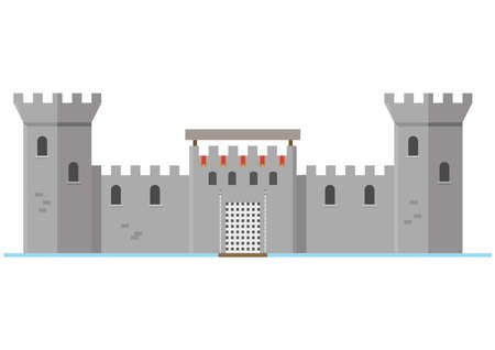 Stone fortress. Flat style vector illustration isolated on white background Vector Illustration