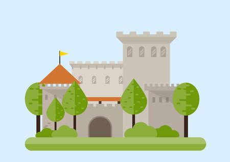 Stone fortress. Flat style vector illustration isolated on white background Ilustracje wektorowe