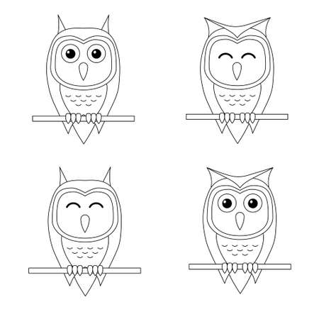 Set of outline cartoon owl sitting on a branch isolated on white background. Coloring page. Vector illustration.