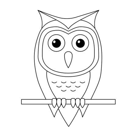 Outline cartoon owl sitting on a branch isolated on white background. Coloring page. Vector illustration