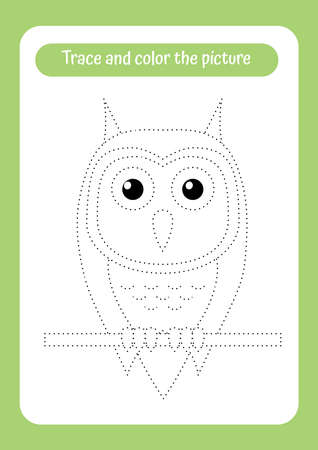 Cute owl. Trace and color the picture. Birds theme activity for toddlers, kids. Educational game for children. Handwriting and drawing practice. Illusztráció