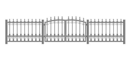 Fence with forged metal. Flat design. Vector illustration isolated on white background