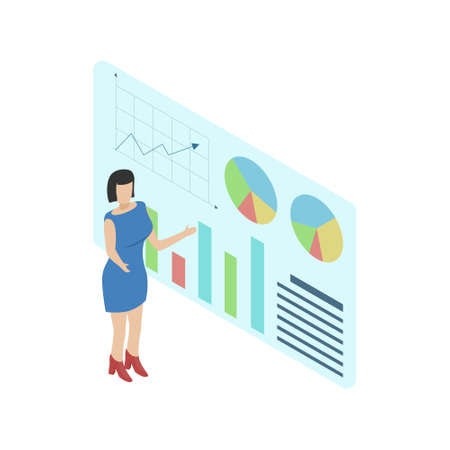 Woman analyzes data or presents a report. Isometry illustration