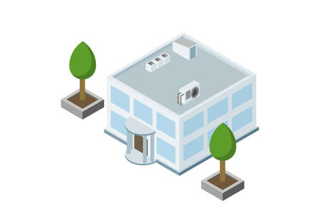 Administrative building isometry. Building isolated vector illustration