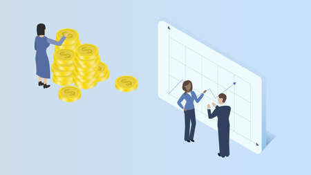 Business analysis, budgeting, accumulation of funds concept. Isometry vector illustration