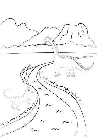 Coloring page outline of dinosaur on the background of nature. Vector illustration Ilustração