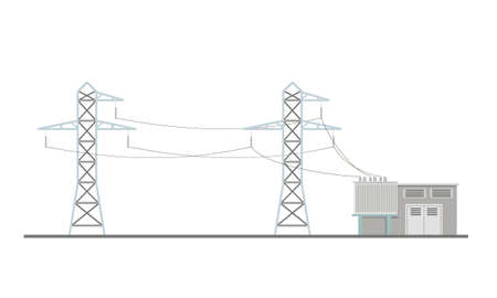 Power lines and transformer substation building. Flat vector illustration isolated on white background. Vector Illustration