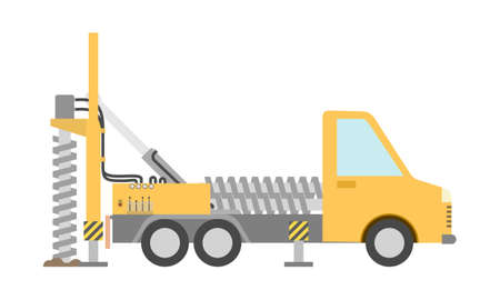Yellow drilling truck in flat style. Special machine for the construction work. Isolated on white background. Vector illustration.