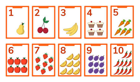Cards collection for numbers from 1 to 10. Food theme for learning counting. Vector illustration.