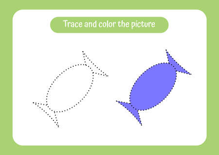 Sweet. Trace and color the picture. Educational game for children. Handwriting and drawing practice. Food theme activity for toddlers, kids. Vector illustration. Ilustración de vector