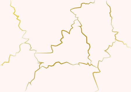 Gold kintsugi vector texture. Broken ceramic background. Kintsugi crack vector illustration. Vecteurs