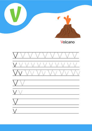Letter V with a picture of volcano and seven lines of letter V writing practice. Handwriting practice and alphabet learning. Vector illustration.