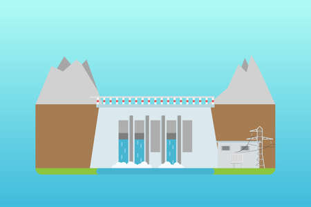 hydroelectric power plant in flat. Isolated on blue background. Vector illustration.