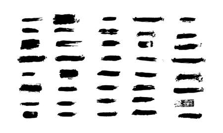 Vector set of differrent grunge brush strokes. Artistic brush.