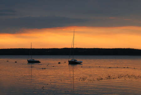 sunset and boats photo
